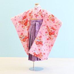 女児袴レンタル(7-51-ha_um)6〜7歳 ピンク/桜|うす紫/市松・桜