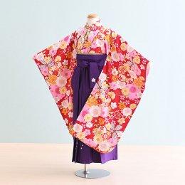 女児袴レンタル(7-45-ha_m3)6〜7歳 赤/花|紫/刺繍・桜