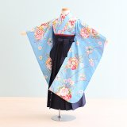 女児袴レンタル(7-46-ha_k2)6〜7歳 水色/花|紺/刺繍・桜