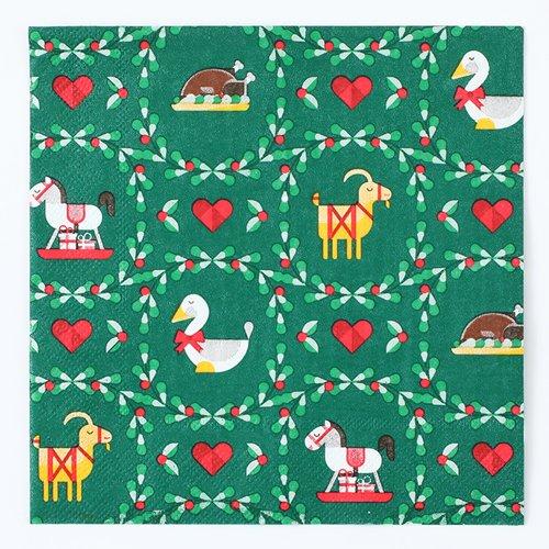 四つ折りペーパーナプキン(クリスマスリース)