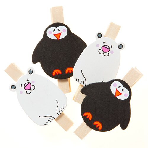 木製クリップ(ペンギン&シロクマ)