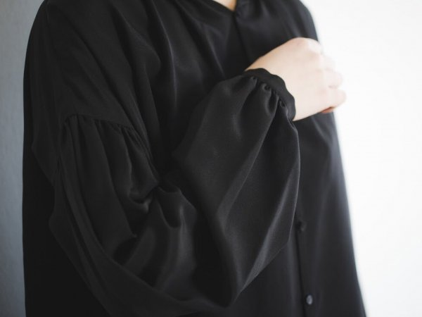 humoresque gather blouse/black