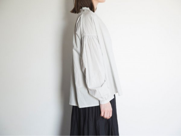 humoresque gather blouse cotton/light gray