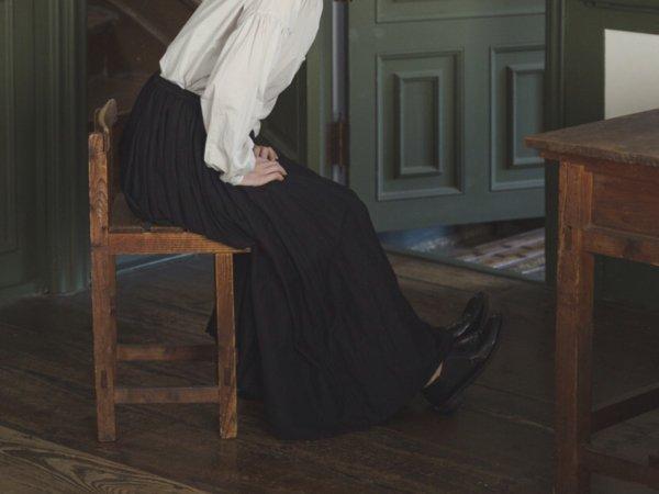 humoresque  long gather skirt/navy