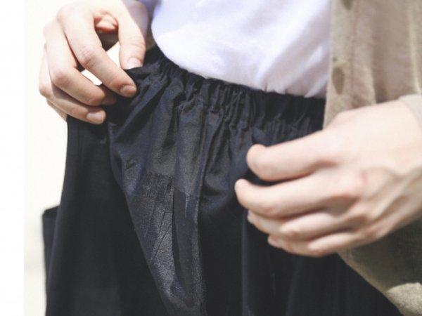 humoresque gather skirt pocket/black-border