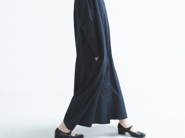 humoresque stand collar dress/navy