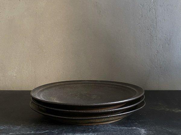 二川 修 4.5寸リム皿 茶