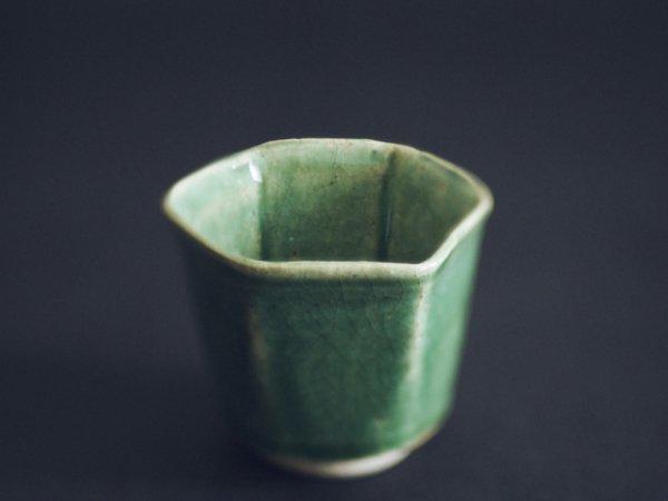 林 拓児 緑釉 六角湯呑