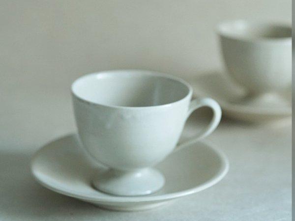 角田 淳 高台つきカップ&ソーサー クリーム