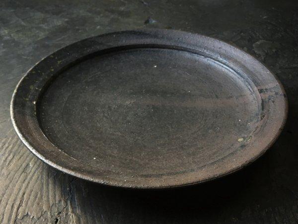 遠藤 素子 黒灰釉 8寸リム皿