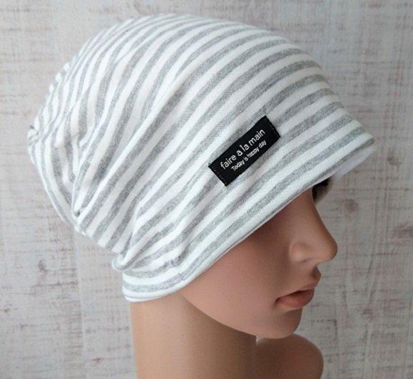 医療用帽子 やわらかリバーシブル  グレーボーダーXホワイト ポイントタグ付き