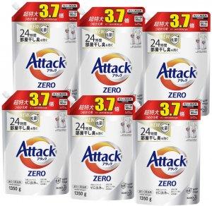 ケース販売 アタック ZERO(ゼロ) 洗濯洗剤 液体 詰め替え 大容量 1350g(約3.7倍分)×6個 (衣類よみがえる「ゼロ洗浄」へ)