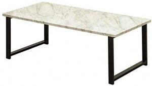 センターテーブル Culcheth ローテーブル 90cm×45cm 大理石柄ホワイト UTK-17MWH
