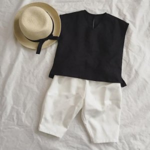 French Linen Simple Blouse*Black