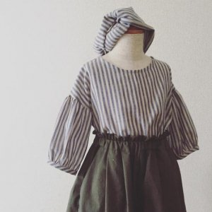 Stripe Gatherded sleeve blouse