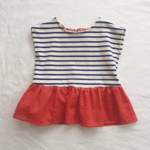 stripes peplum blouse*red