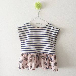 stripes peplum blouse*Woven leaves