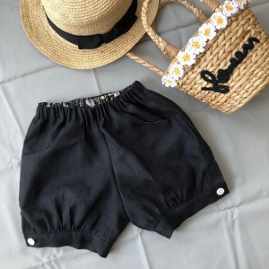 linen short pants*black