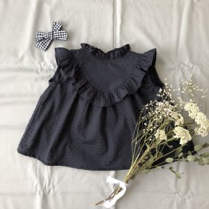 Frill sleeveless blouse  navygray