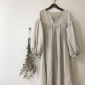 Linen gathered dress*Ladies