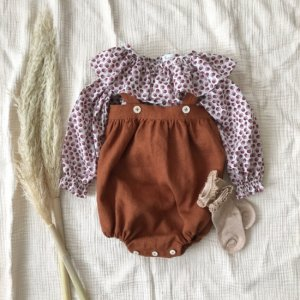 baby rompers *linen brown