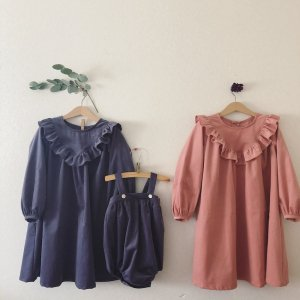 Corduroy Frill dress* coral pink