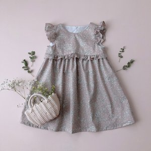 Frill Sleeve Dress *Malory(smoky color)