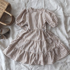 Gingham tiered dress*beige