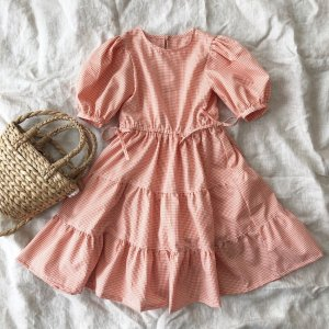 Gingham tiered dress*orange