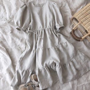 linen tiered dress*sand beige