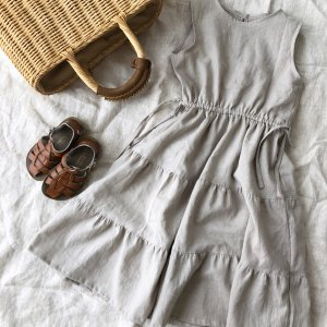 Cottonlinen tiered dress *sand beige
