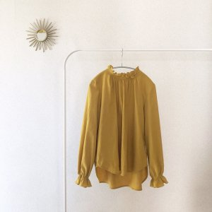 Frill coler blouse*mustard*Ladies
