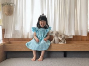 double frill gingham onepiece *blue