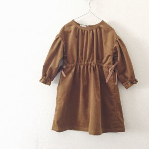 Corduroy Gathered Dress * Camel