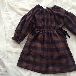 Check Gathered Dress * Brown×Black