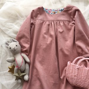 Corduroy FrontGathered Dress *SmorkyPink