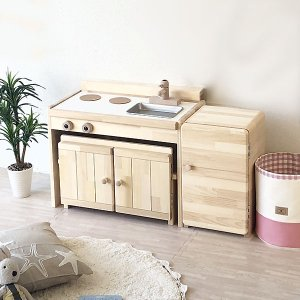 (名入れOK) ままごとキッチン&デスクC600+冷蔵庫セット