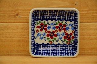 ポーランド食器(ポーリッシュポタリー)角皿 小 『ボーダーガーデン』