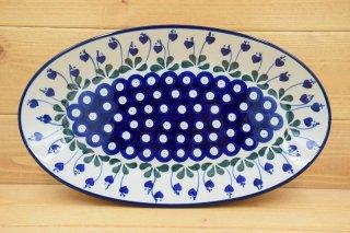 ポーランド食器(ポーリッシュポタリー)オーバル皿 Mサイズ 『ピーコックアイとすずらん』