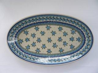ポーランド食器(ポーリッシュポタリー)オーバル皿 Lサイズ 『ブルーローズ』