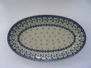 ポーーランド食器(ポーリッシュポタリー)オーバル皿 Lサイズ 『水中花』