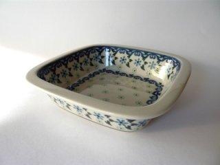 ポーランド食器(ポーリッシュポタリー)オーブン皿・角鉢 『水中花』