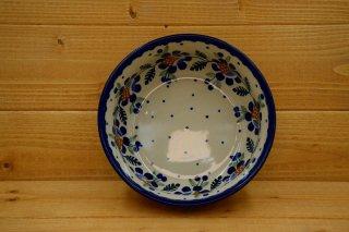 ポーランド食器(ポーリッシュポタリー)丸型ボウル17cm 『マニュの青いばら』
