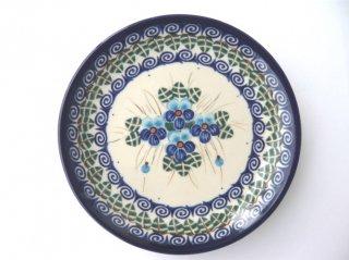 ポーランド食器(ポーリッシュポタリー)丸皿16cm 『ラインダンス』