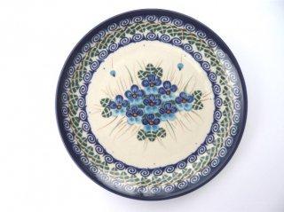 ポーランド食器(ポーリッシュポタリー)丸皿19cm 『ラインダンス』