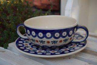 ポーランド食器(ポーリッシュポタリー)スープカップ&ソーサー  『No.2』