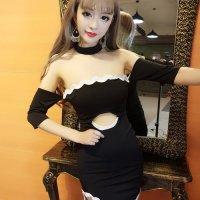 【春分フェア☆第2弾】デコルテを美しく魅せつける黒×白の大人可愛いボディコンワンピース風セクシードレス(SEXYDRESS)