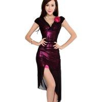 【春分フェア☆第2弾】メタリックカラーの生地に黒のメッシュ素材を重ねた独特の風合いで魅せるボディコンワンピース風セクシードレス(SEXYDRESS) ピンク