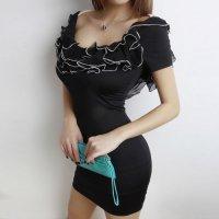 衿周りの華やかなシフォンフリルが目を惹くボディコン風セクシードレス(CABARETDRESS) ブラック