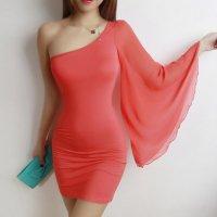 【春分フェア☆第2弾】シフォンのフレアスリーブが付いたオブリークネックのボディコン風セクシードレス(SEXYDRESS) オレンジ